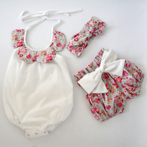 Newborn summer boutiques - vintage floral ruffle romper with bow knot shorts and headband