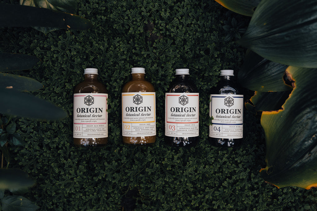 Origin Botanical Nectar-4 flavors-prickly pear-butterfly pea-ginger turmeric-hibiscus rose cardamom