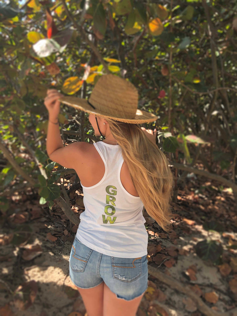 Soft white tank top with the inspirational message to Go...Grow!