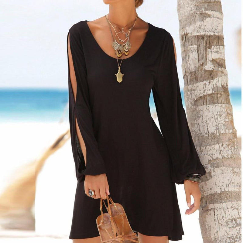 The Adrienne Dress: Elegant Black Summer Dress or Cover-Up