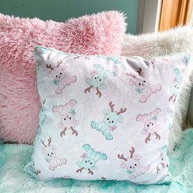 Pink reindeer snuggle pillow