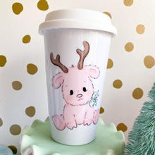 Load image into Gallery viewer, Pink Reindeer Latte Mug