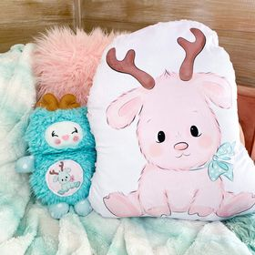 Giant shaped pink reindeer pillow