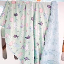 Load image into Gallery viewer, Toddler mint Halloween snuggle blanket with mint backing
