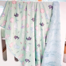 Toddler mint Halloween snuggle blanket with mint backing