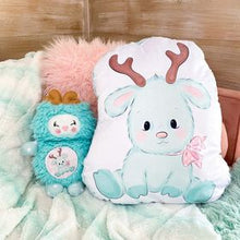Load image into Gallery viewer, Giant shaped mint reindeer pillow