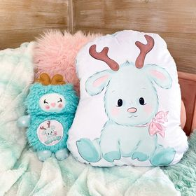Giant shaped mint reindeer pillow