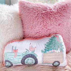 Tractor with chickens large shaped pillow