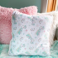 Load image into Gallery viewer, White unicorn pulling sleigh snuggle pillow