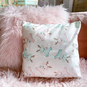 Velvet pillow cover in pink reindeer