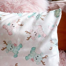 Load image into Gallery viewer, Velvet pillow cover in pink reindeer