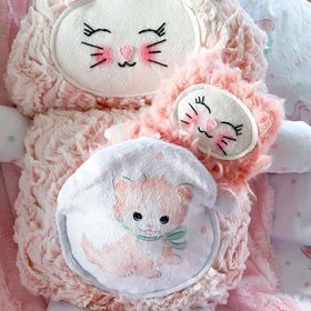 Coral and cream mama kitty cutieloo with coral cuddle baby in pouch