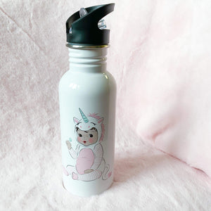 Baby Unicorn Straw Water Bottle