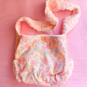 Floral on Coral Fur Dolly Diaper Bag