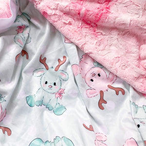 Preorder Snuggle Blanket- Mint Reindeer with Pink Marble Backing