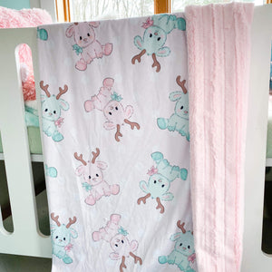 Preorder Snuggle Blanket- Pink Reindeer with Pink Lines Backing