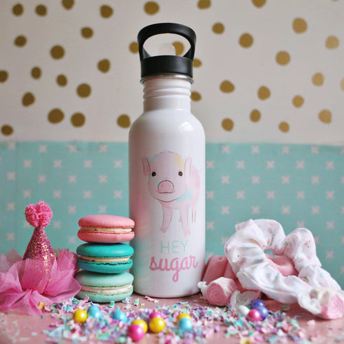 Rainbow Pig Straw Water Bottle