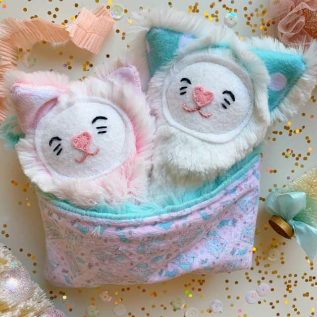 Frosted Kitten Teensies in Sleeping Bag