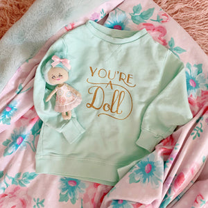 'You're a Doll' Mint Pullover Girls