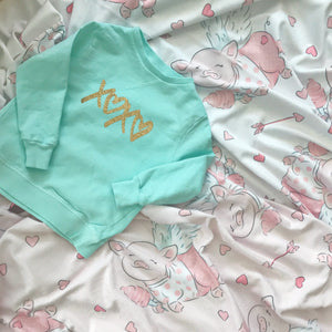 Gold XOXO Mint Pullover Girls