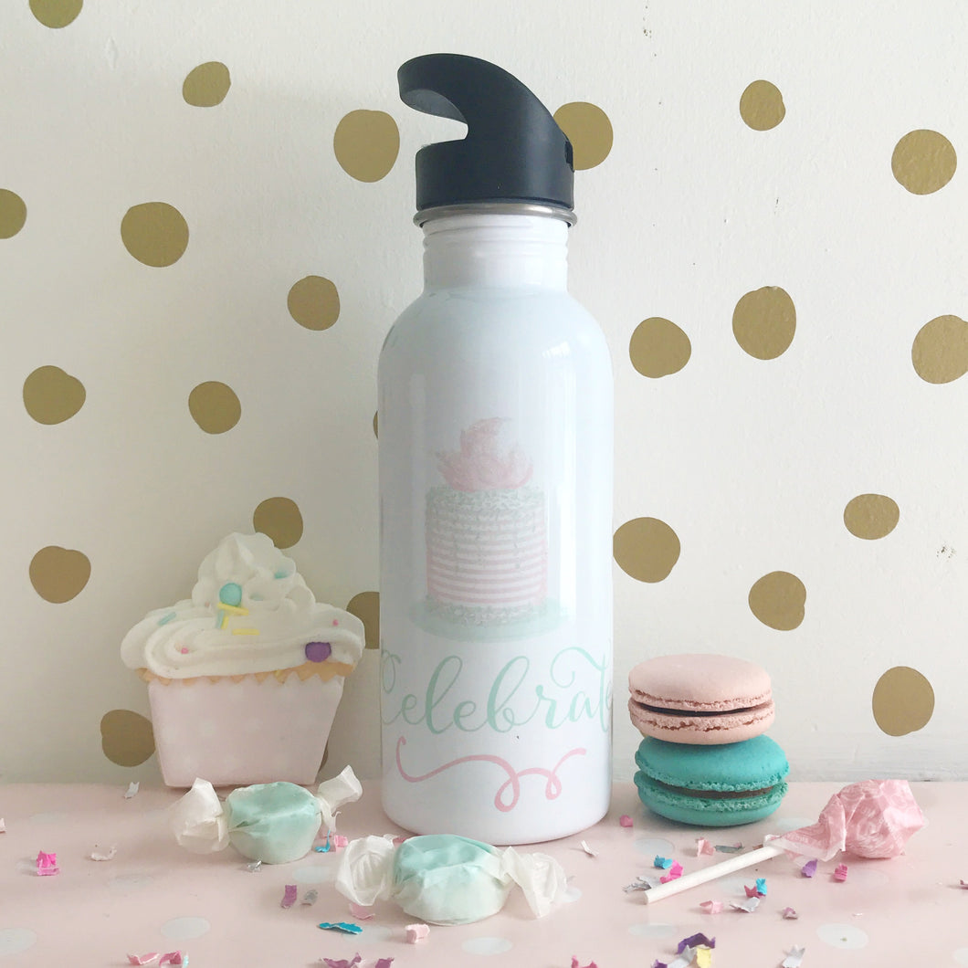 Celebrate Cake Straw Water Bottle
