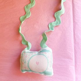 Mint Donut Plush Camera Necklace