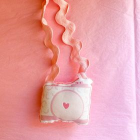 Pink Rainbow Plush Camera Necklace