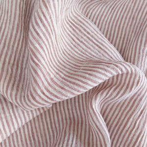 Striped Washed Linen - Blush/Ivory - 1/2 metre