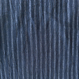 Striped Washed Linen - Indigo/Silver - 1/2 metre