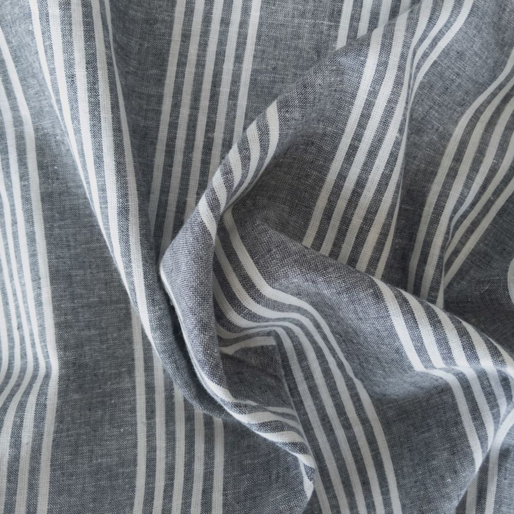 Linen/Cotton Stripe - Grey/Ivory - 1/2 metre