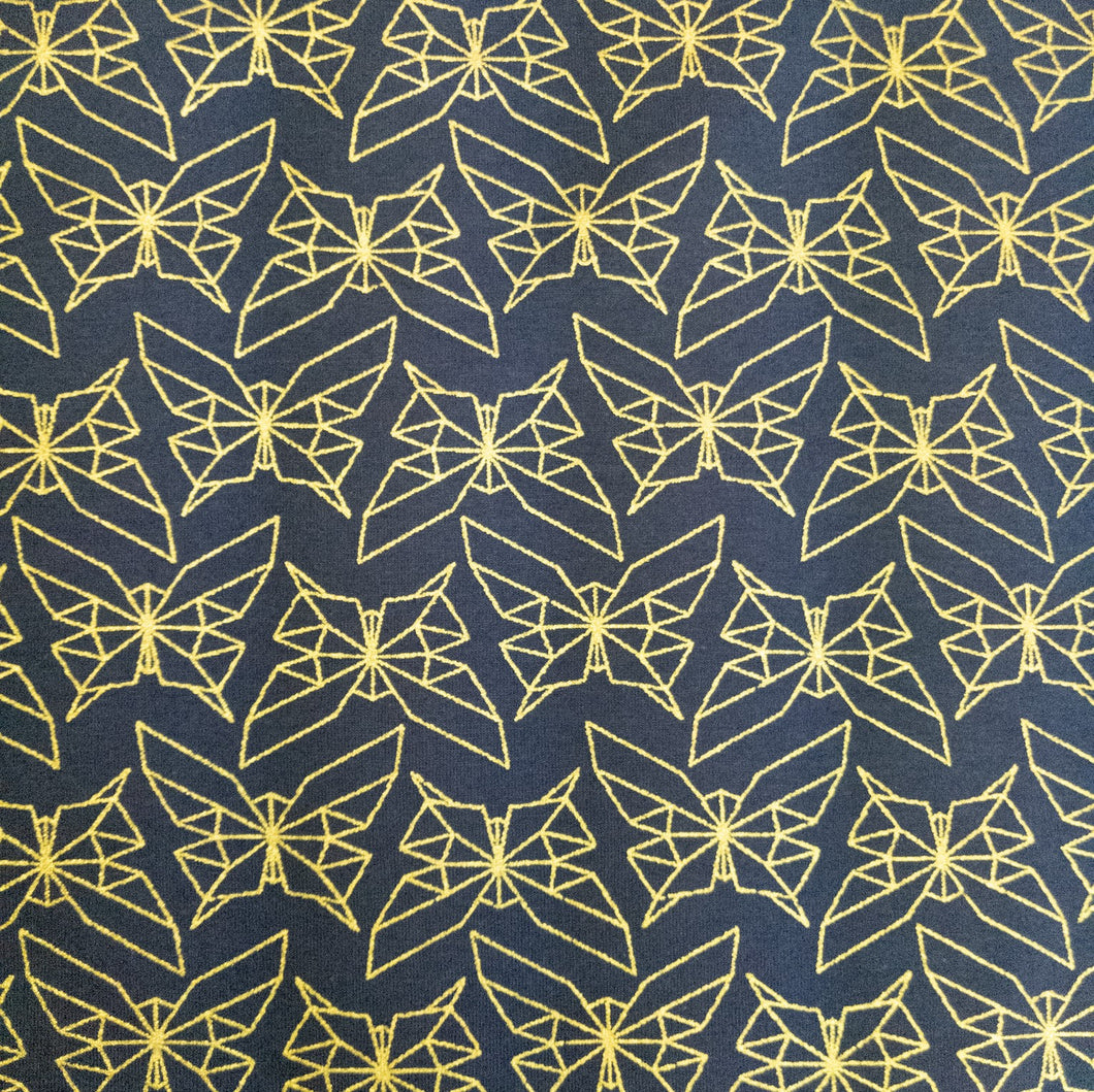 Geo Butterfly Dusk/Metallic Gold Organic Cotton Knit- 1/2 meter
