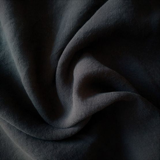Midweight Washed Linen - Black - 1/2 metre