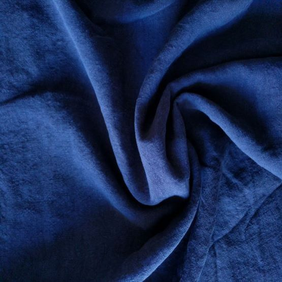 Midweight Washed Linen - Navy - 1/2 metre