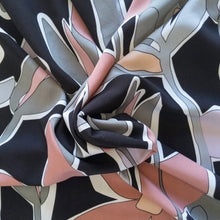 Load image into Gallery viewer, Viscose Micro Crepe Print - Black/Pink - 1/2 meter