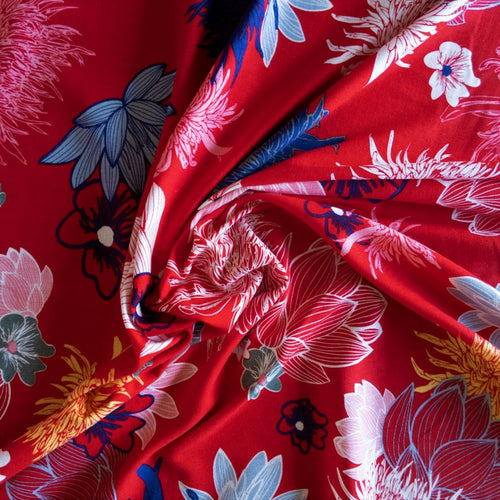Red Viscose Linen Blend - 1/2 metre