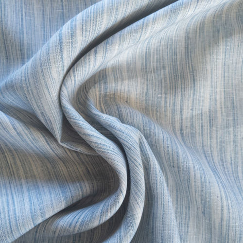 Striated Yarn Dyed Linen - Blue - 1/2 metre