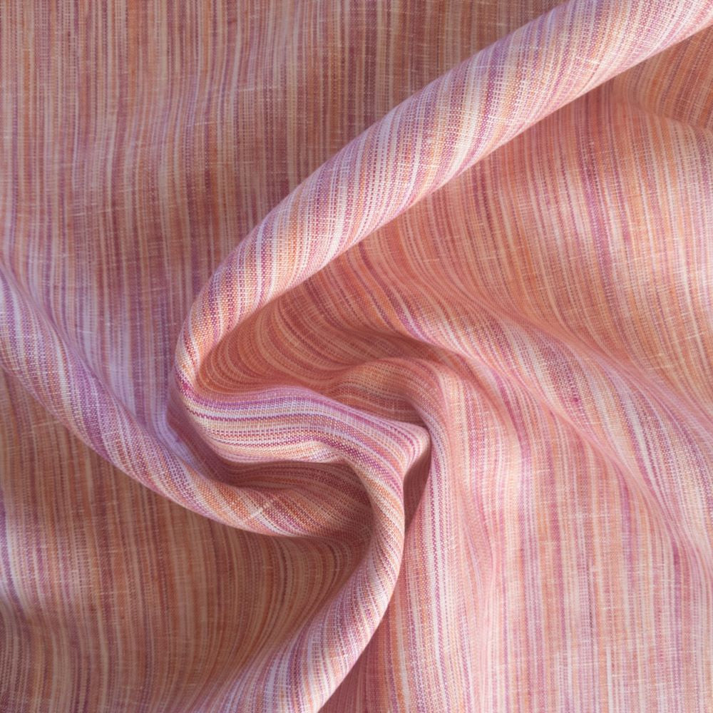 Striated Yarn Dyed Linen - Tangerine - 1/2 metre