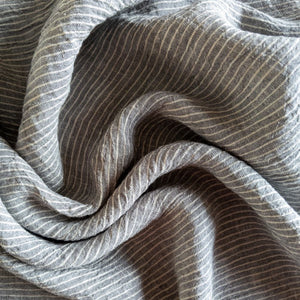 Striped Washed Linen - Smoke - 1/2 meter