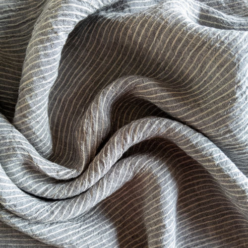 Striped Washed Linen - Smoke - 1/2 metre