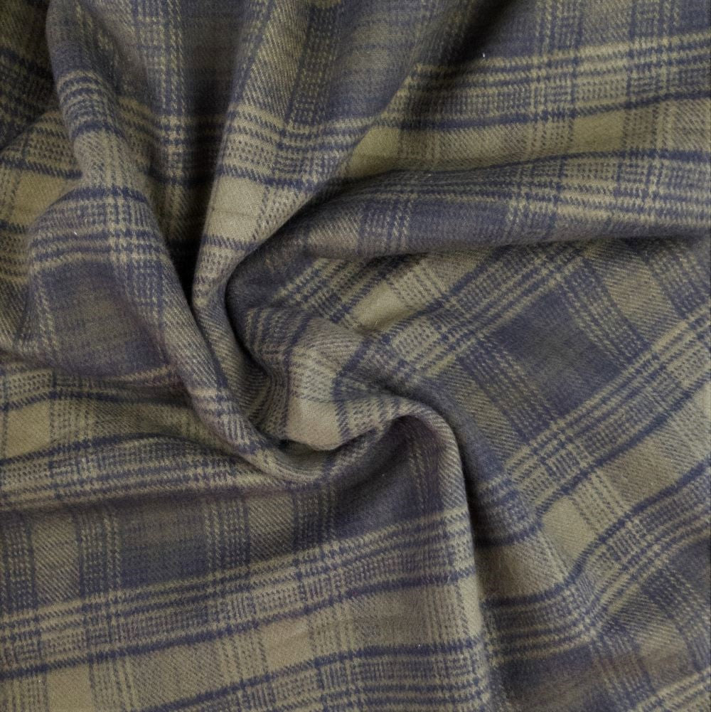 Tahoe Flannel - Olive Check - 1/2 metre