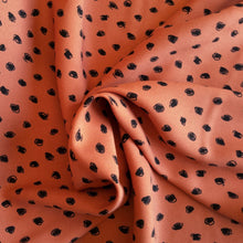 Load image into Gallery viewer, Viscose Crepe Print - Coral/Black - 1/2 metre
