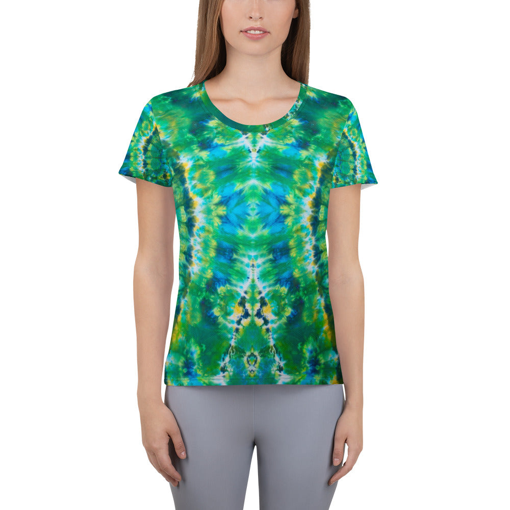 'Emerald Isles' All-Over Print Women's Athletic T-shirt (Slim Fit)