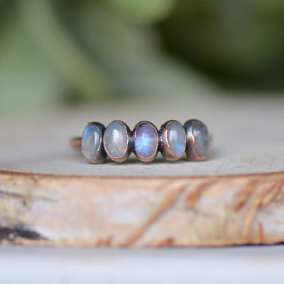 Rainbow Moonstone Ring, Multi Stone Ring, Raw Crystal Ring, Moonstone Jewelry, Stacking Ring, Gemstone Jewelry, Raw Stone Ring, Copper Ring,LUNAandLORES.