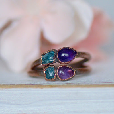 Amethyst Apatite Ring, Multi Stone Ring, Raw Stone Ring, Electroformed Ring, Birthstone Jewelry, Unique Gift for Her, Bohemian Jewelry
