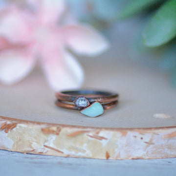Opal Herkimer Ring | Stacking Ring Set,Ringschock