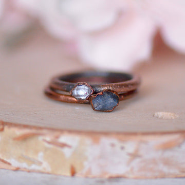 Stacking Ring Set | Sapphire Herkimer Set,Ringschock