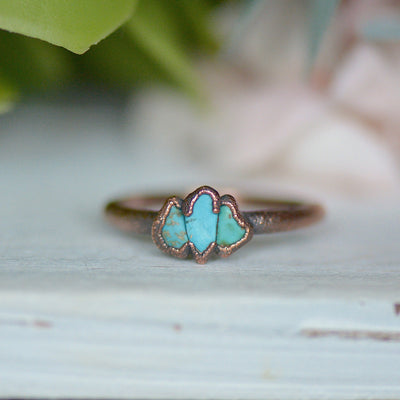 Triple Turquoise Ring,LUNAandLORES.