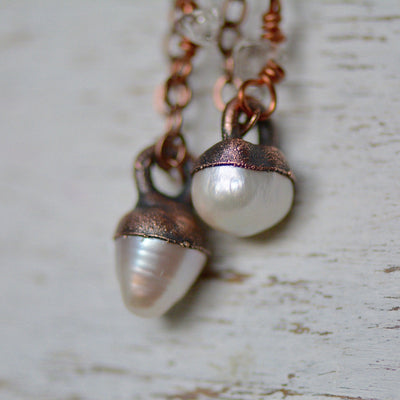 Pearl Necklace, Pearl Jewelry, Delicate Necklace, Copper Necklace, Electroformed Jewelry, Gemstone Pendant, Pearl Pendant, Boho Bride,LUNAandLORES.