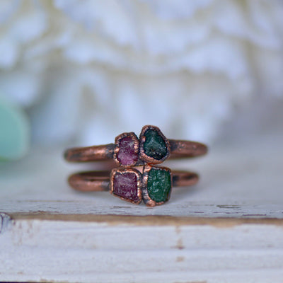 Raw Emerald Ring, Multi Stone Ring, Pink Tourmaline Ring, Raw Gemstone Ring, Stacking Ring, Electroformed Jewelry, Unique Gift For Her