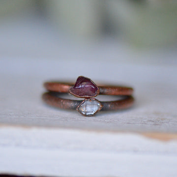 Tourmaline Ring Set | Herkimer Diamond Ring,Ringschock